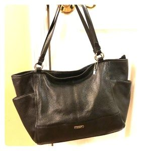 Coach Park Carrie Black Pebbled Leather Tote